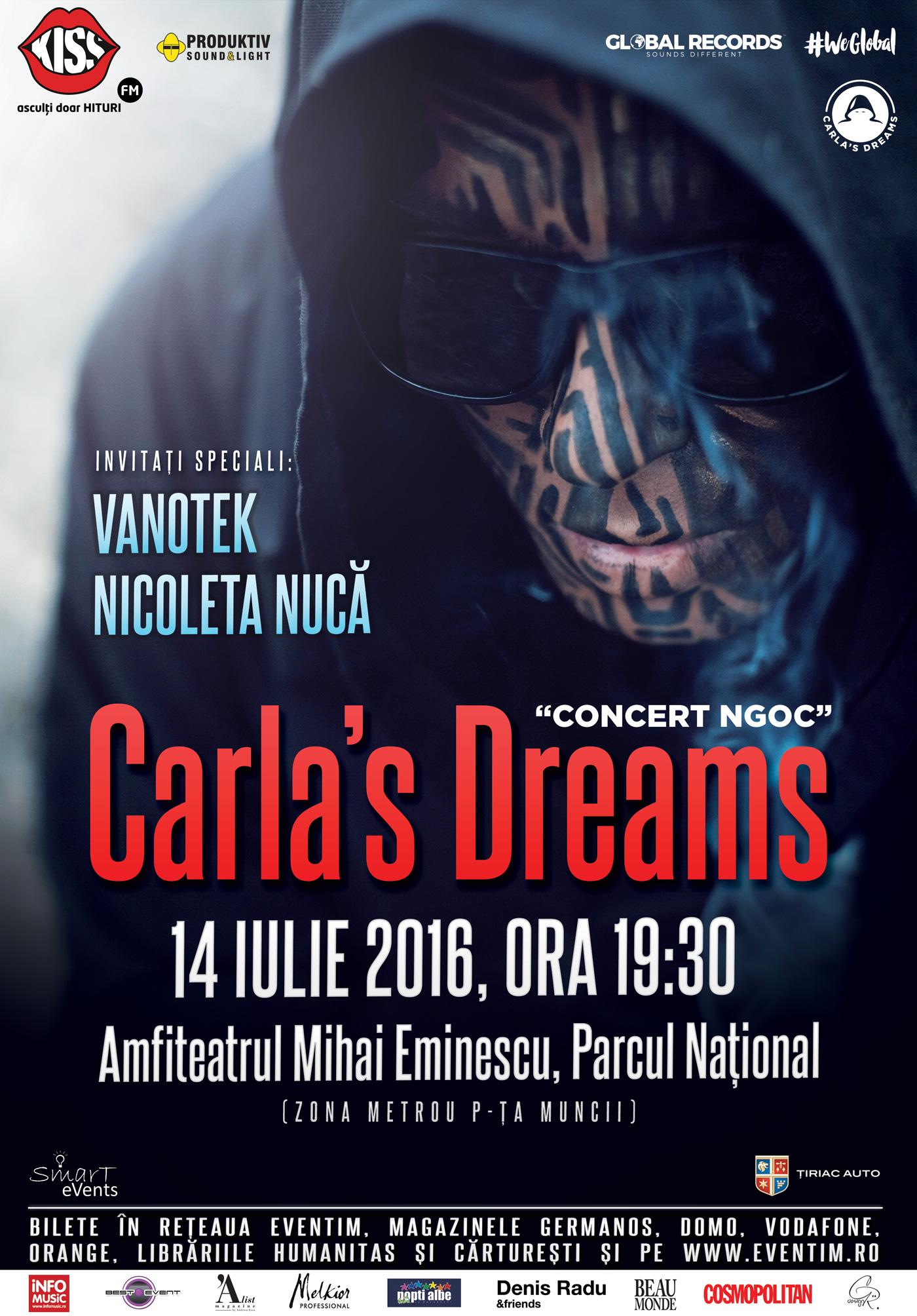 """Concert Carla's Dreams, in  14 iulie  la Amfiteatrul """"Mihai Eminescu"""""""
